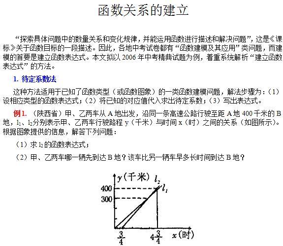 沪教版高一数学上册函数关系的建立知识要点讲解