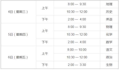 北京市2017年春季高中会考主要日程安排公布
