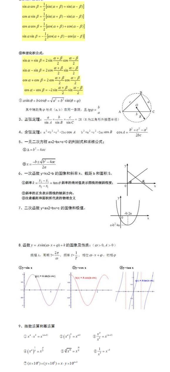 高中物理中用到的数学知识2