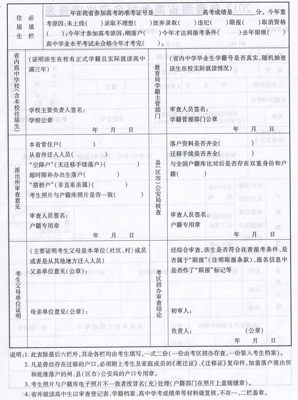 青海2017年高考资格审查表2