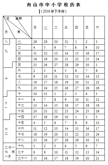 2016-2017学年舟山初中寒假放假时间