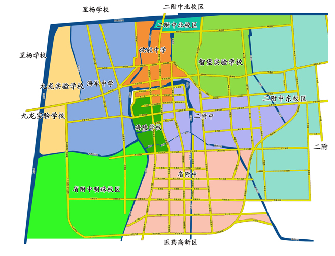 """海陵区和""""市直学校与医药高新区学校教育共同体""""施教区划分"""