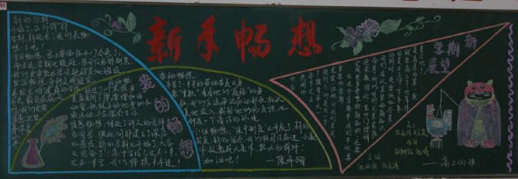 小学生春节黑板报设计:新春畅想