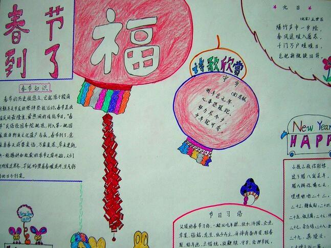 2017小学生春节手抄报主题:春节福到了