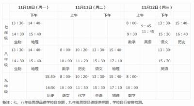 2017-2018学年青岛市北区初中期中考试时间通知