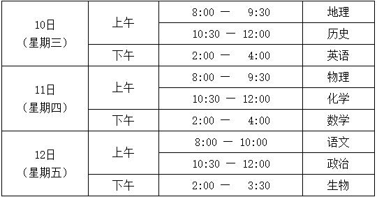 ★2018年北京市春季高中会考主要日程安排