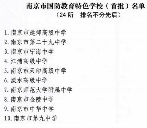 ★南京市国防教育特色学校(首批)名单