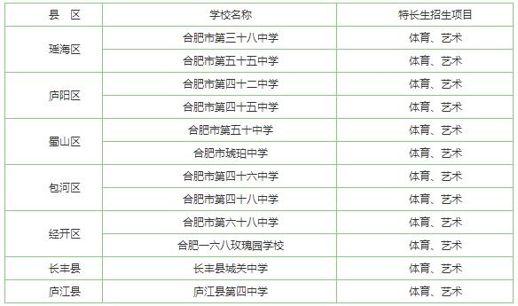 2017年合肥小升初特长生招收学校名单一览