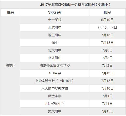 2017年北京海淀小升初分班考试时间公布