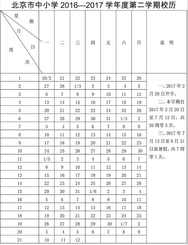 【2017北京小学】北京小学暑假放假时间7月13日-8月31日