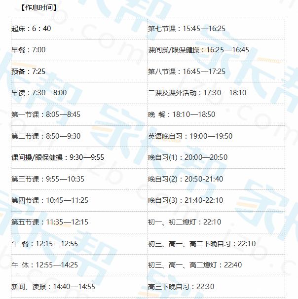 2017年【成都外国语学校】小升初入学流程和作息时间表