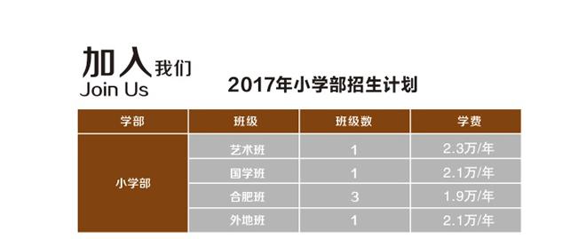 2017年合肥世界外国语学院小学学费
