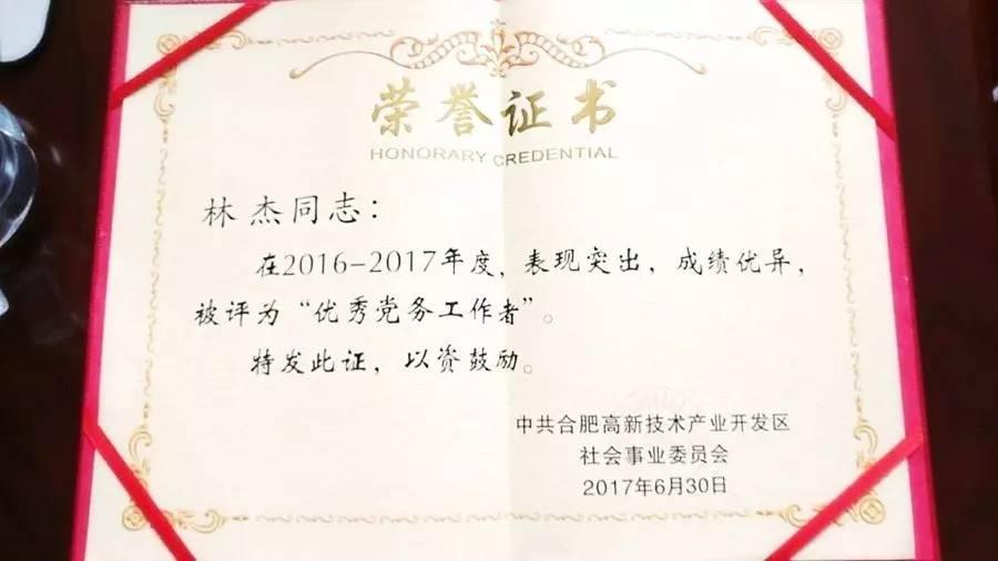 """安徽学大教育党支部书记林杰同志荣获""""优秀党务工作者""""荣誉称号"""