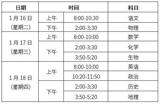 ★2018年北京海淀区初中期末考试时间安排