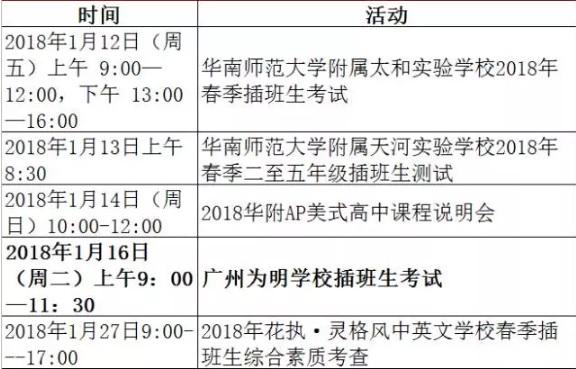 ★2018年1月广州小升初最新活动