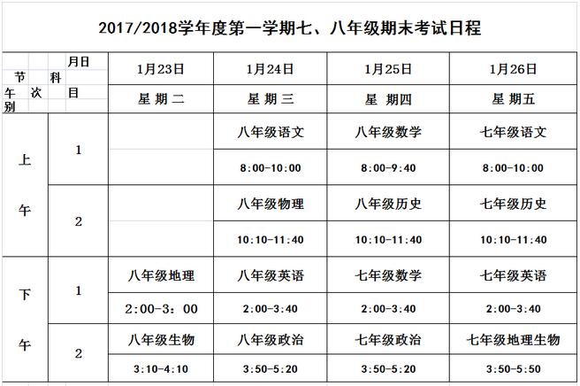 2017-2018年包河区七年级上学期期末考试时间及范围