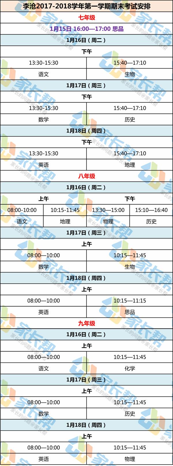 2017-2018学年青岛李沧区期末考试时间安排