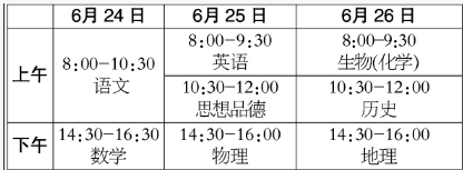 2018年北京中考考试时间及安排