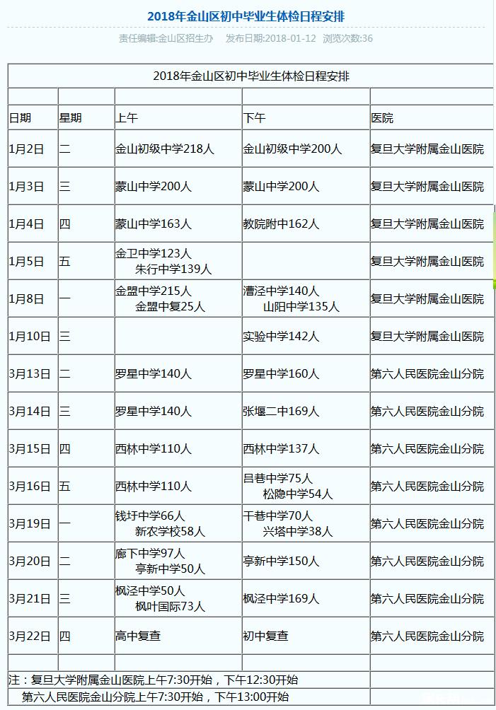 2018年上海金山区中考体检日程安排表公布