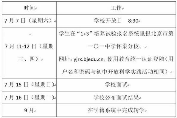 2018年【北京101中】怀柔校区1+3培养试验项目招生简章