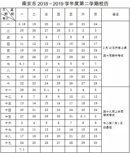 2018-2019学年南京第二学期中小学校历