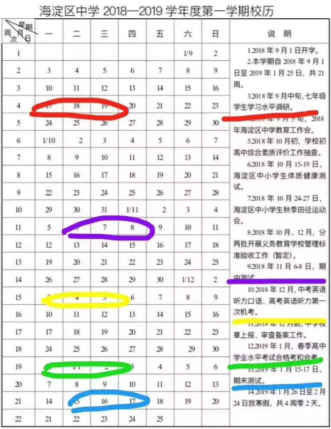 ★北京市海淀区小学期中和期末考试什么时候考