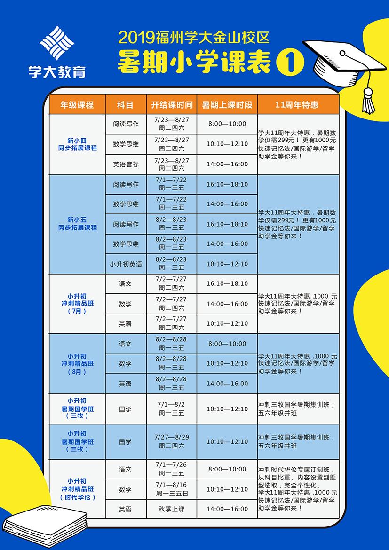 福州8校区暑期小学班组课程明细